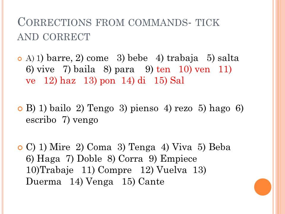 Corrections from commands- tick and correct