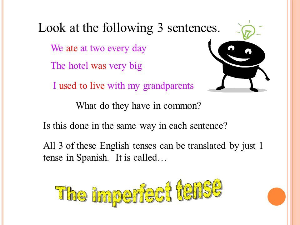 The imperfect tense Look at the following 3 sentences.
