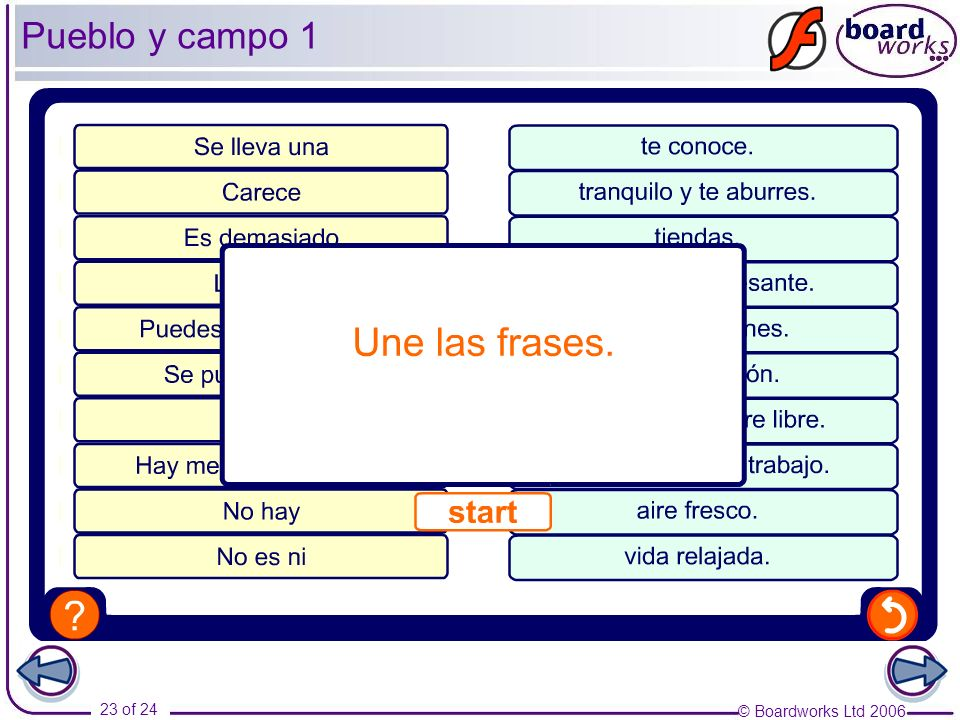 Pueblo y campo 1 Pupils match up the two halves of each sentence. Then they must decide whether each is positive or negative.