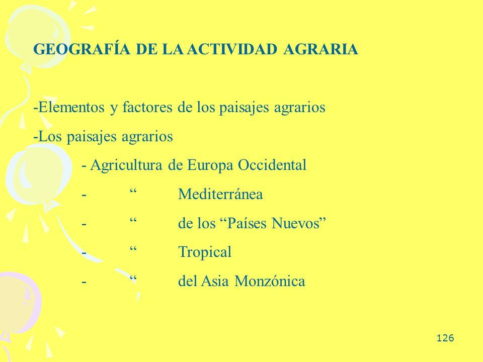 GEOGRAFÍA DE LA ACTIVIDAD AGRARIA