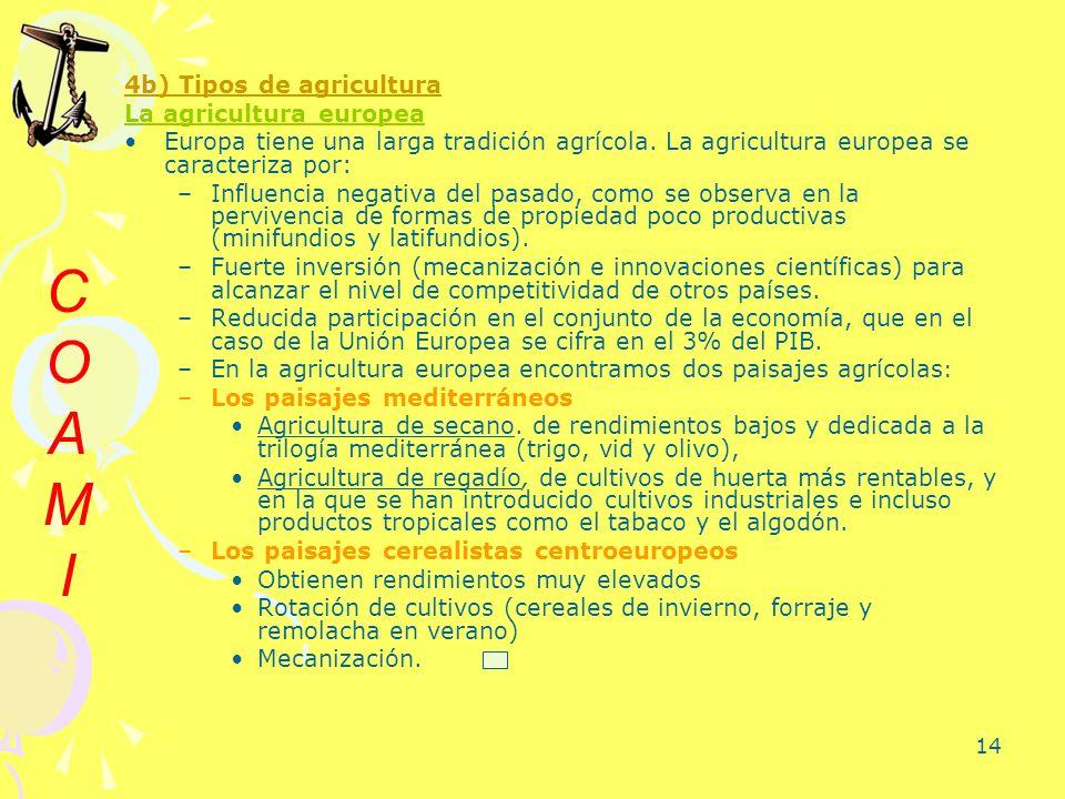 C O A M I 4b) Tipos de agricultura La agricultura europea