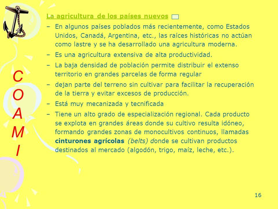 C O A M I La agricultura de los países nuevos