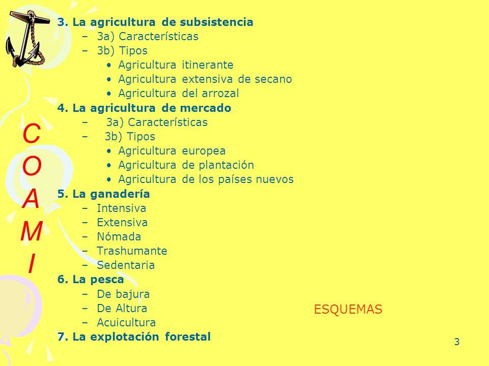 C O A M I ESQUEMAS 3. La agricultura de subsistencia