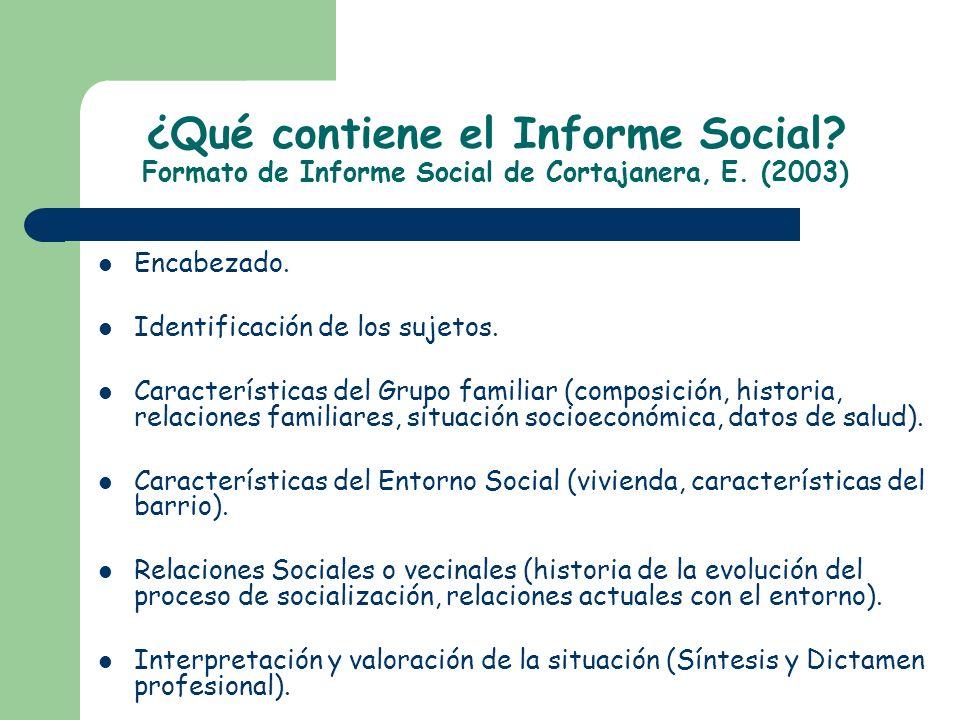 ¿Qué contiene el Informe Social