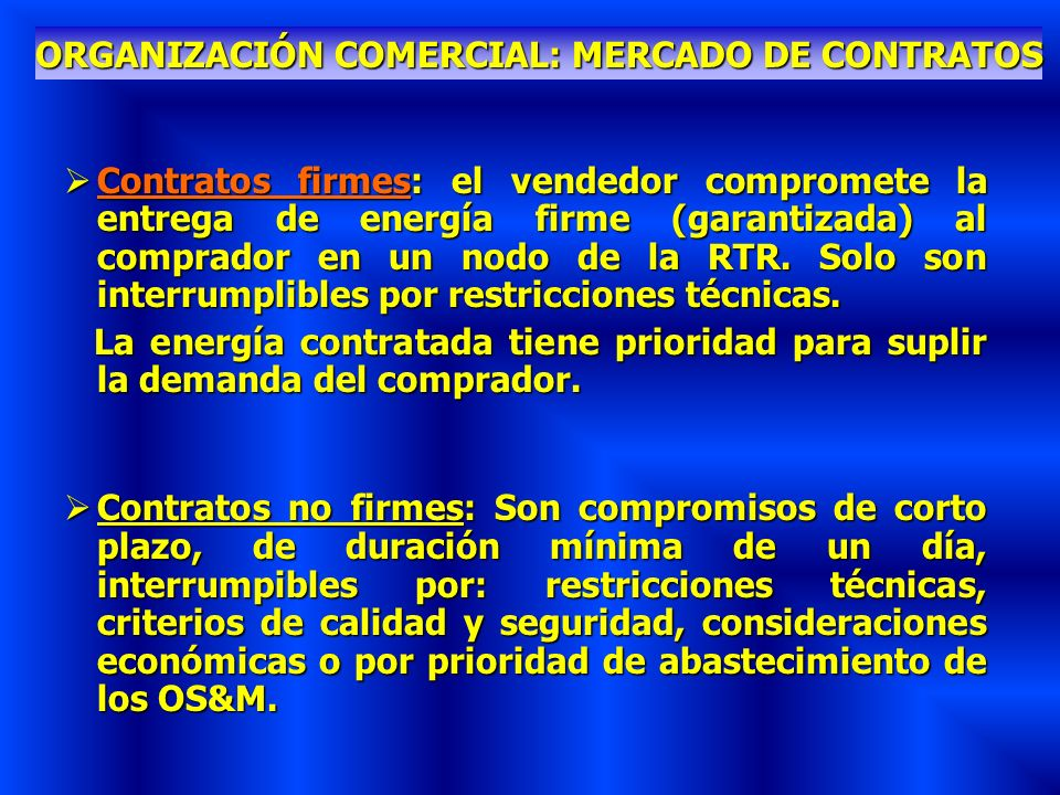 ORGANIZACIÓN COMERCIAL: MERCADO DE CONTRATOS