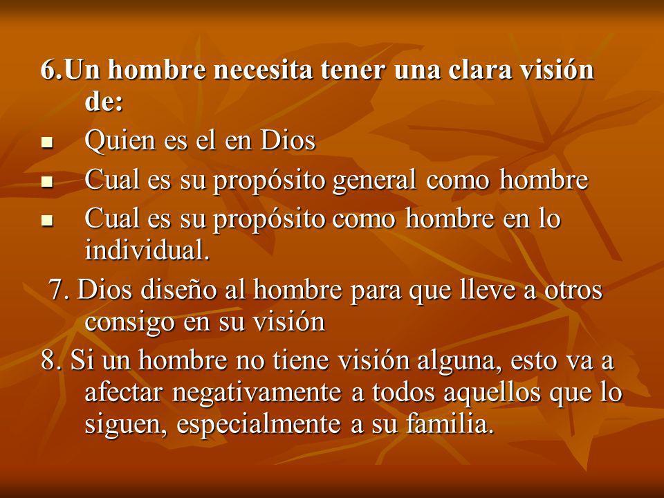 6.Un hombre necesita tener una clara visión de: