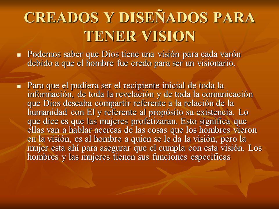 CREADOS Y DISEÑADOS PARA TENER VISION