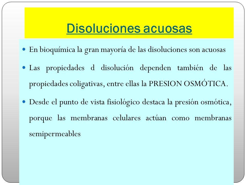 Disoluciones acuosas En bioquímica la gran mayoría de las disoluciones son acuosas.