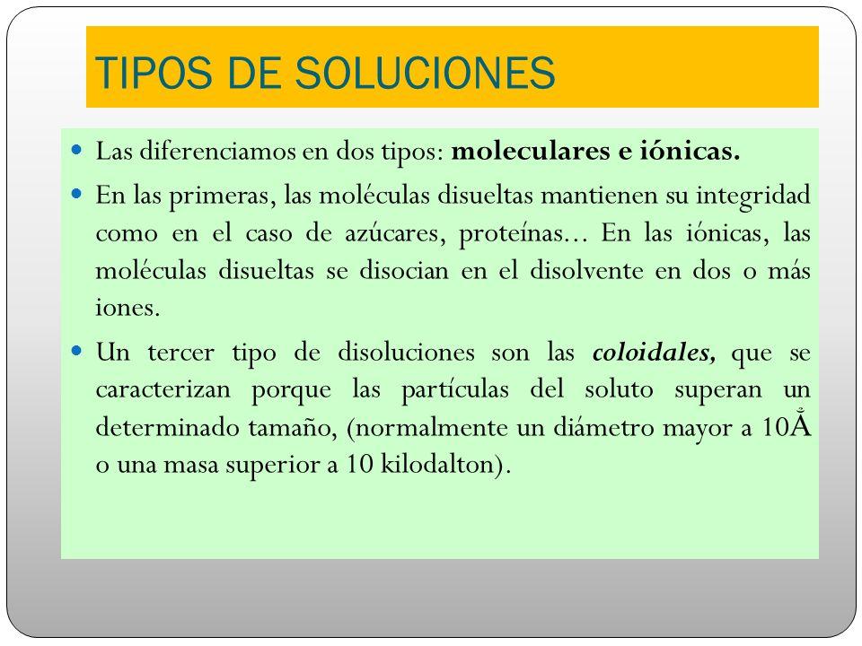 TIPOS DE SOLUCIONES Las diferenciamos en dos tipos: moleculares e iónicas.