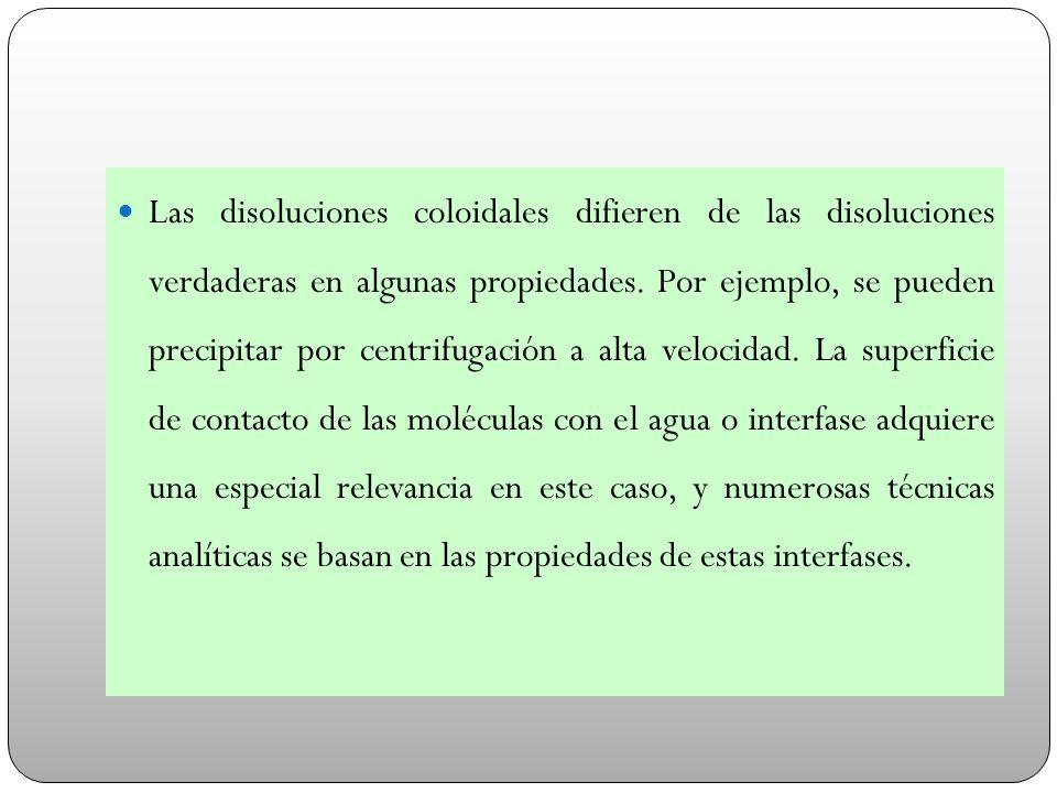 Las disoluciones coloidales difieren de las disoluciones verdaderas en algunas propiedades.