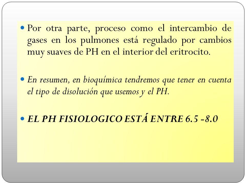 Por otra parte, proceso como el intercambio de gases en los pulmones está regulado por cambios muy suaves de PH en el interior del eritrocito.
