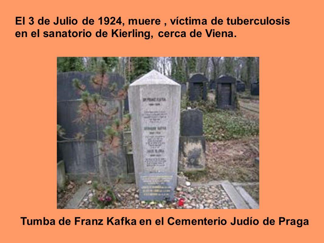 El 3 de Julio de 1924, muere , víctima de tuberculosis en el sanatorio de Kierling, cerca de Viena.