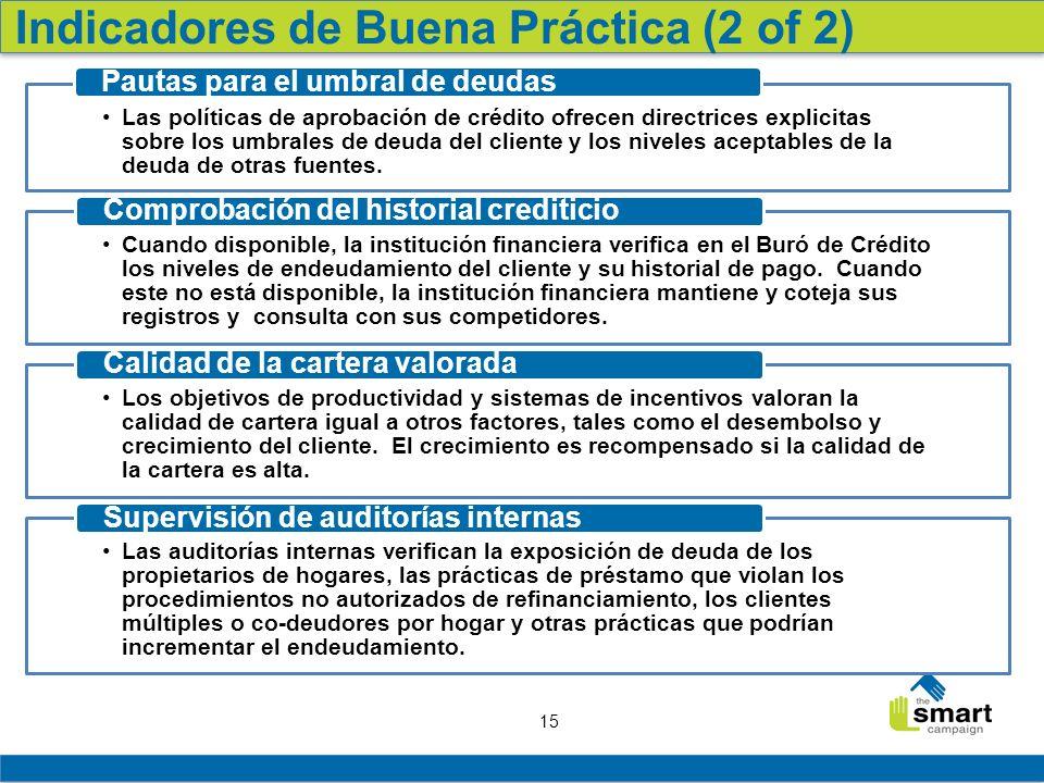 Indicadores de Buena Práctica (2 of 2)