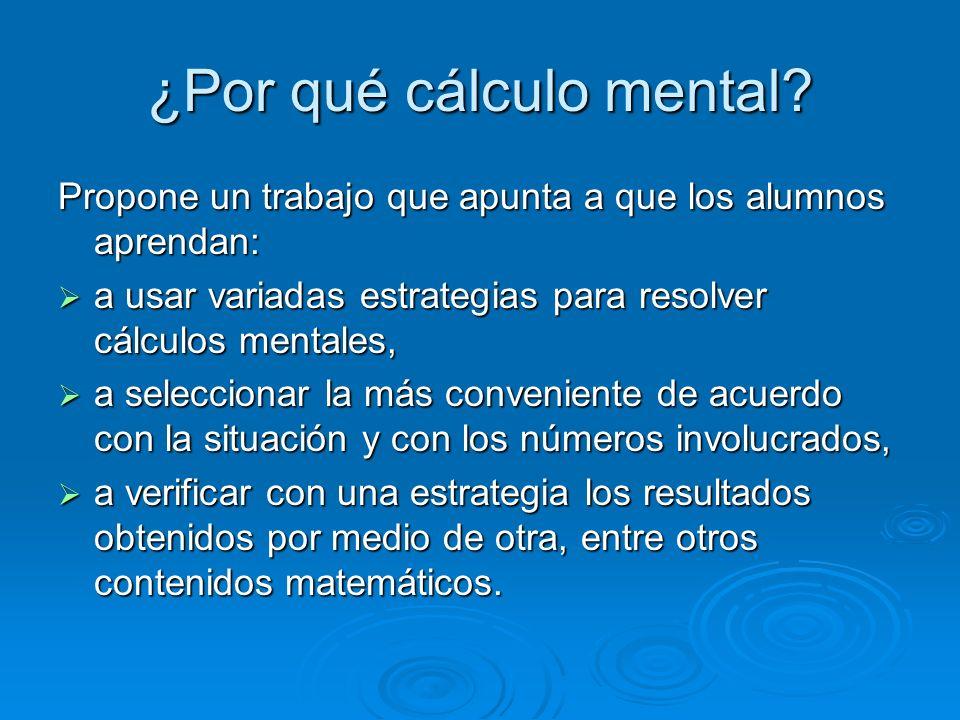 ¿Por qué cálculo mental
