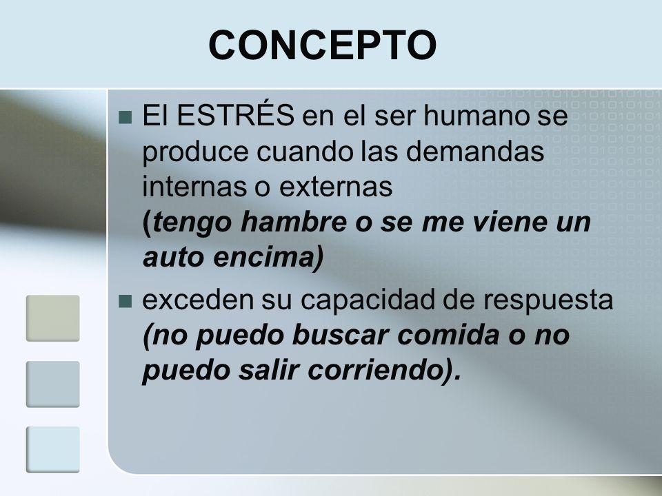 CONCEPTOEl ESTRÉS en el ser humano se produce cuando las demandas internas o externas (tengo hambre o se me viene un auto encima)