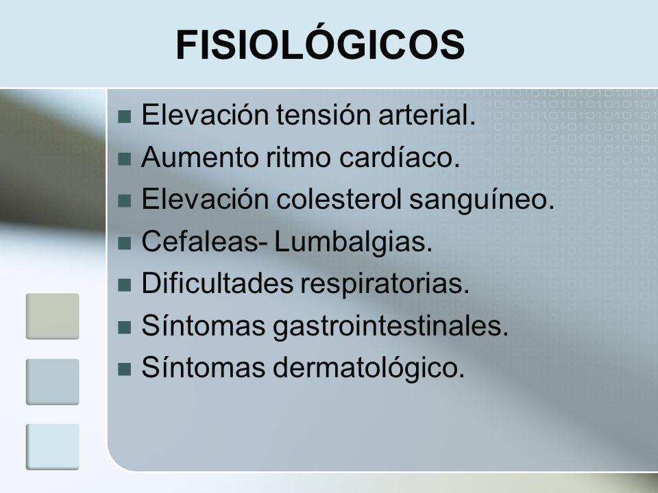 FISIOLÓGICOS Elevación tensión arterial. Aumento ritmo cardíaco.