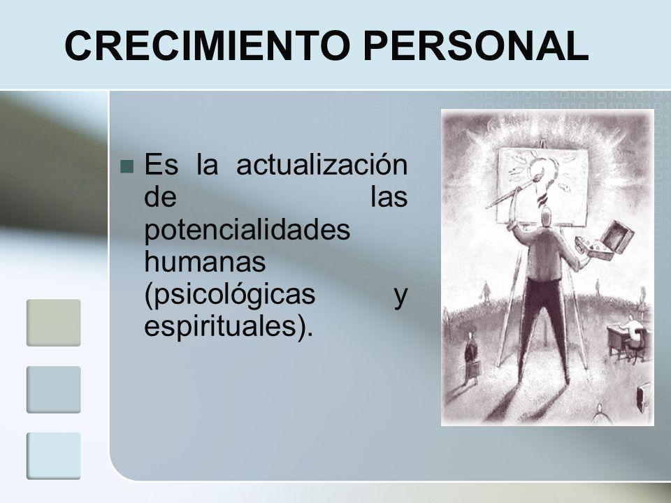 CRECIMIENTO PERSONALEs la actualización de las potencialidades humanas (psicológicas y espirituales).