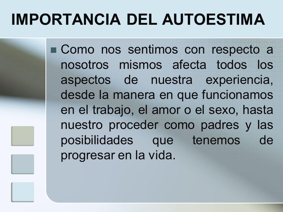 IMPORTANCIA DEL AUTOESTIMA