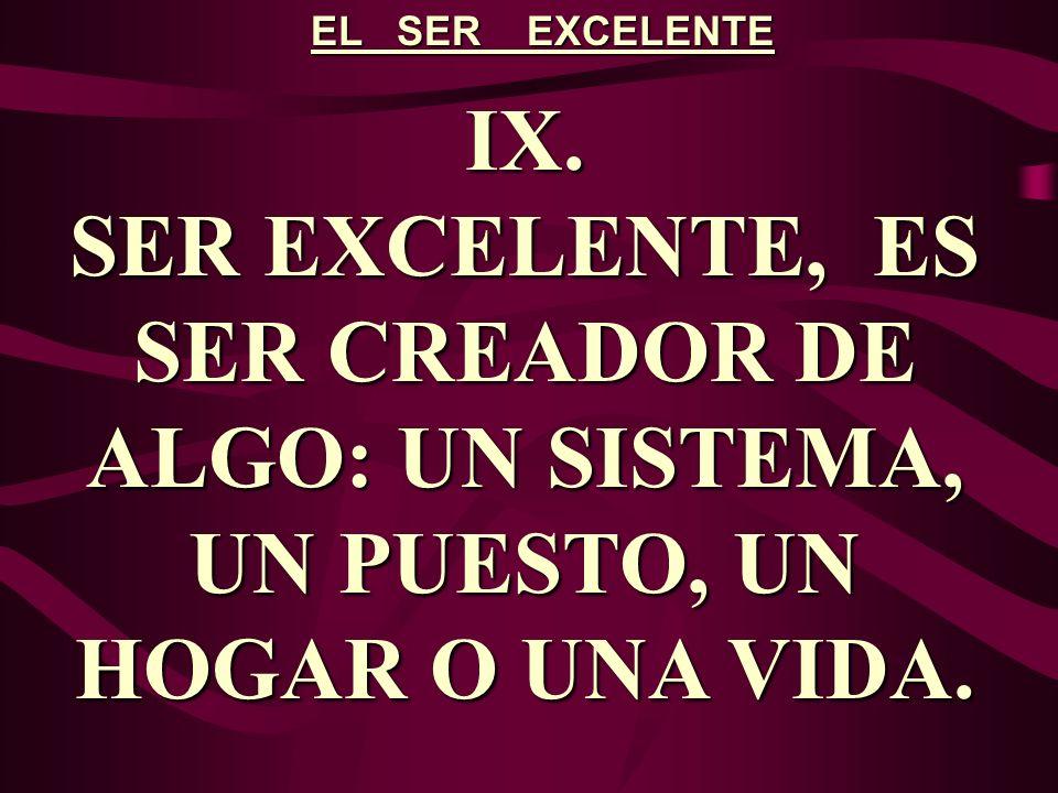 EL SER EXCELENTE IX.