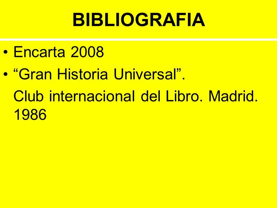 BIBLIOGRAFIA Encarta 2008 Gran Historia Universal .