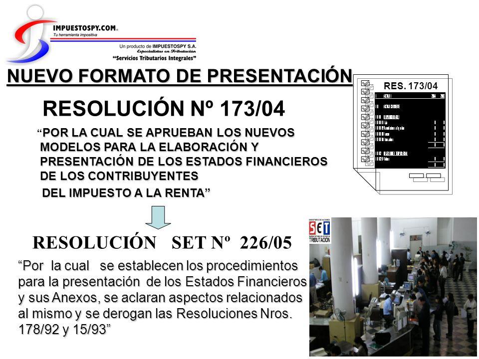 RESOLUCIÓN Nº 173/04 NUEVO FORMATO DE PRESENTACIÓN