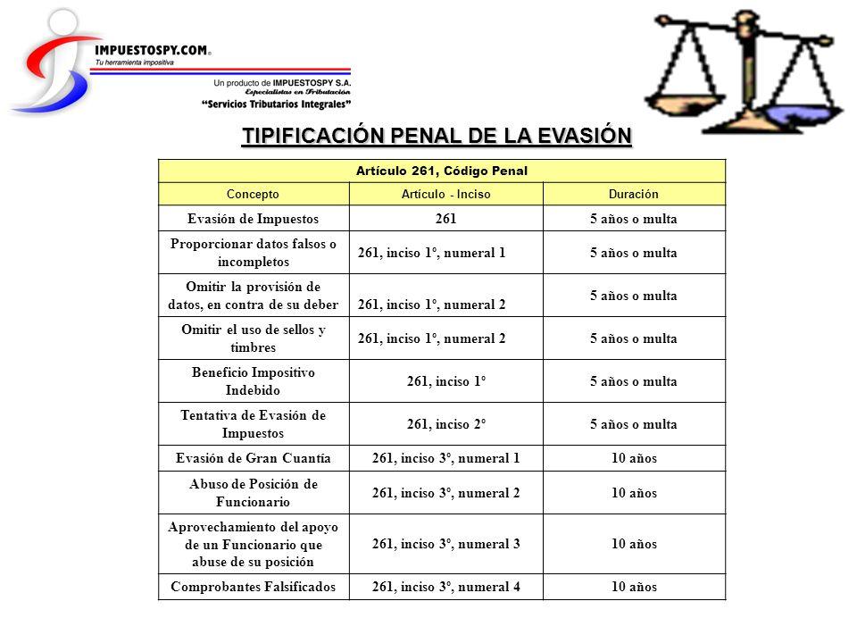 TIPIFICACIÓN PENAL DE LA EVASIÓN