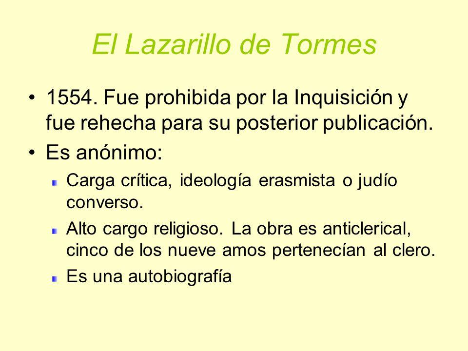 El Lazarillo de Tormes 1554. Fue prohibida por la Inquisición y fue rehecha para su posterior publicación.