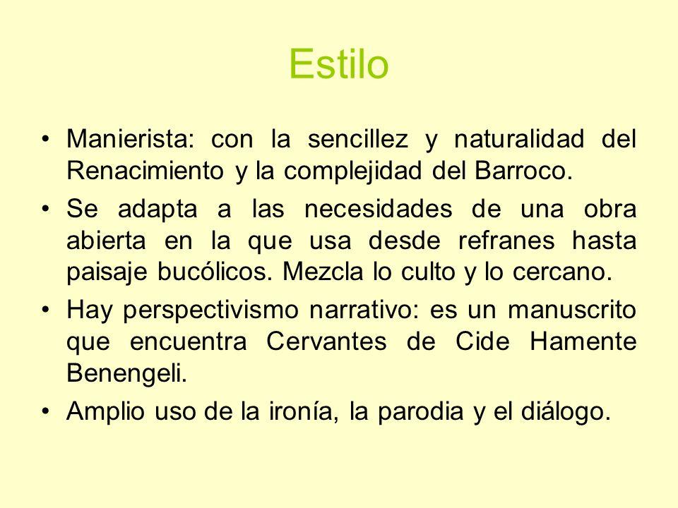 Estilo Manierista: con la sencillez y naturalidad del Renacimiento y la complejidad del Barroco.