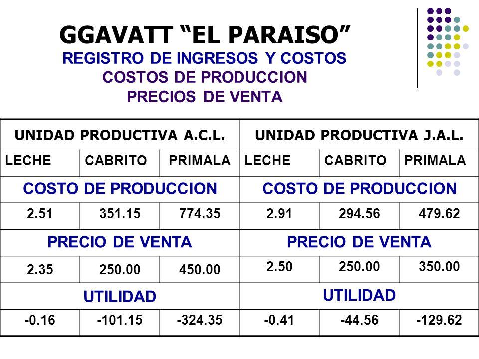 GGAVATT EL PARAISO REGISTRO DE INGRESOS Y COSTOS COSTOS DE PRODUCCION PRECIOS DE VENTA