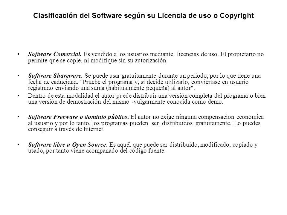 Clasificación del Software según su Licencia de uso o Copyright