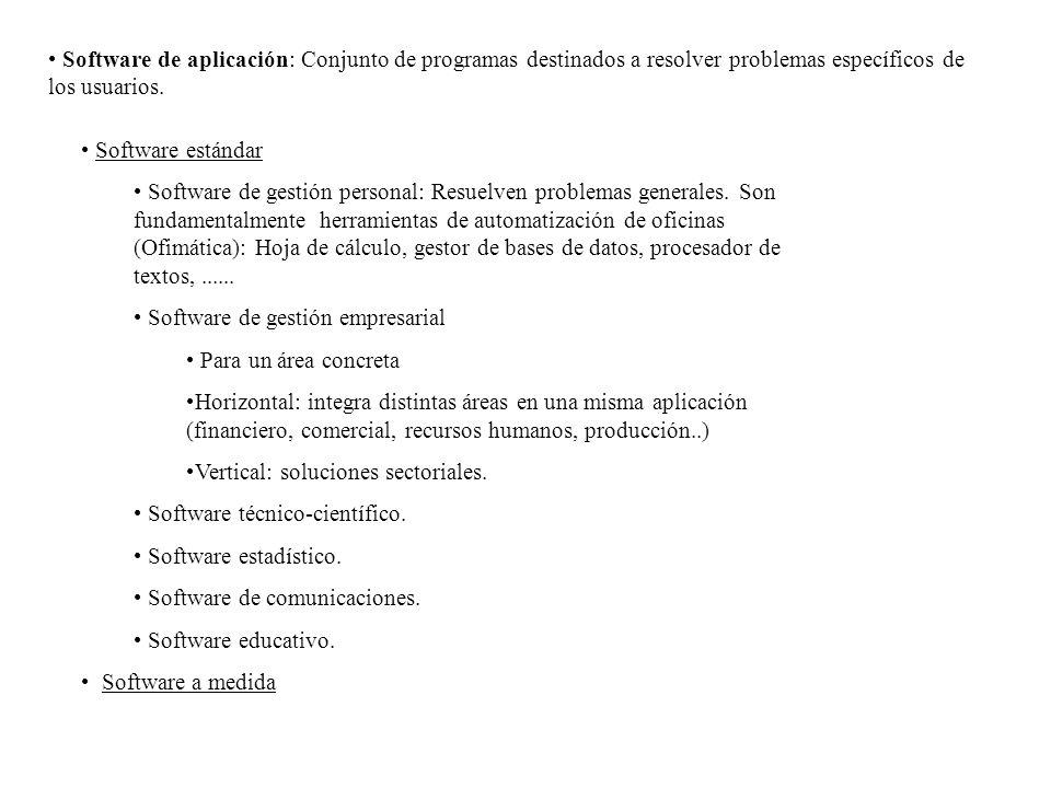 Software de aplicación: Conjunto de programas destinados a resolver problemas específicos de los usuarios.