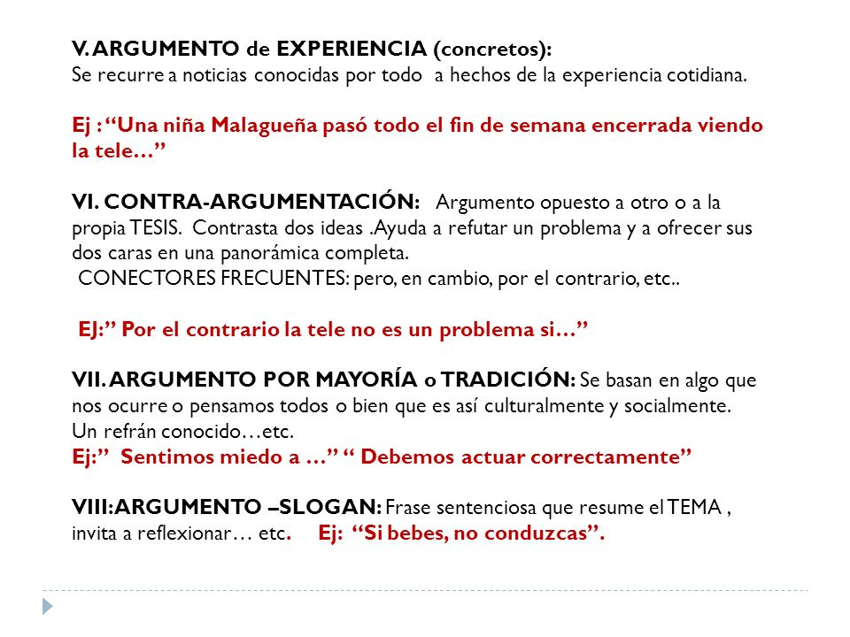 V. ARGUMENTO de EXPERIENCIA (concretos):
