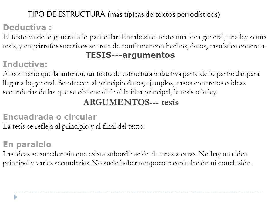 TIPO DE ESTRUCTURA (más típicas de textos periodísticos)