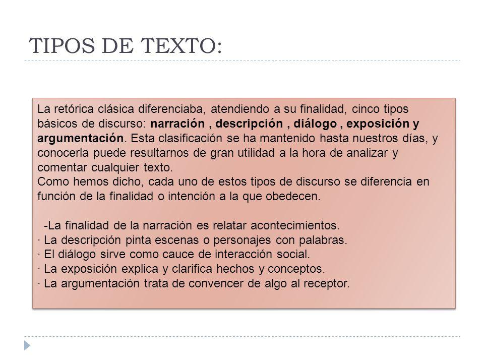 TIPOS DE TEXTO:
