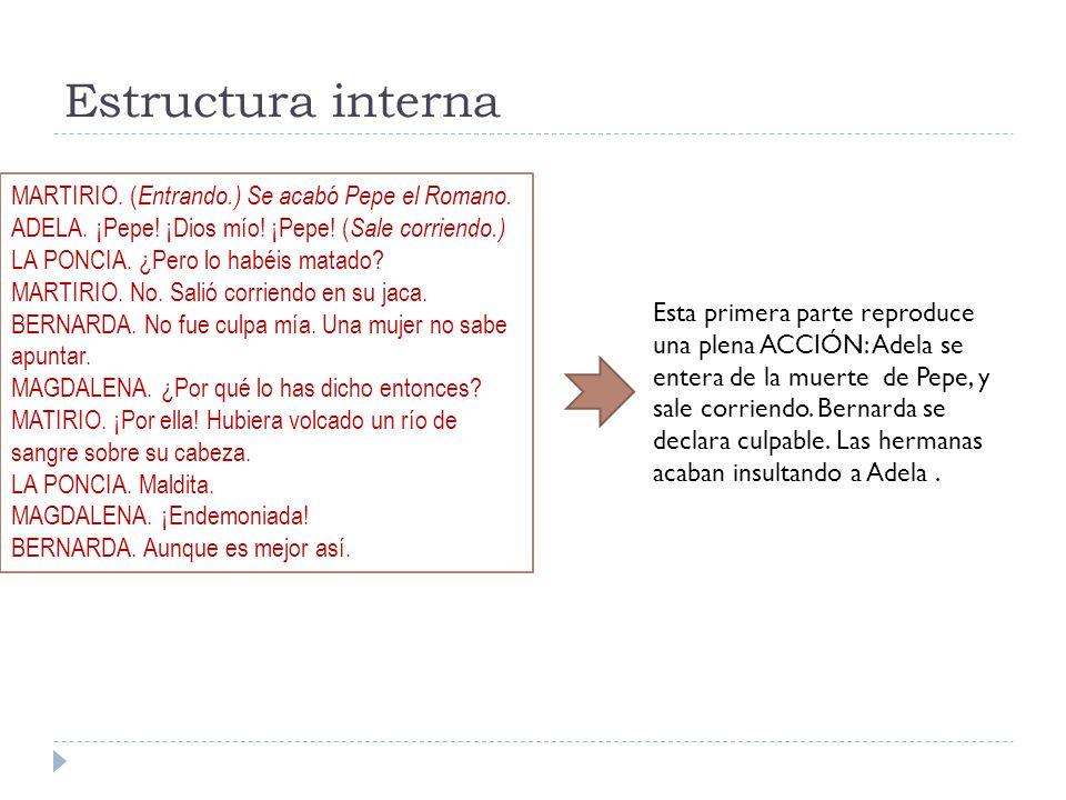 Estructura interna MARTIRIO. (Entrando.) Se acabó Pepe el Romano.