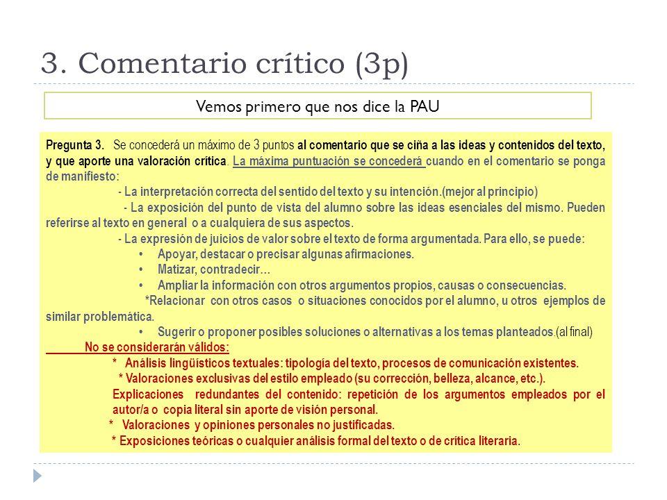 3. Comentario crítico (3p)