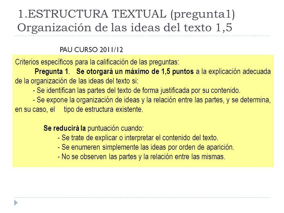 1.ESTRUCTURA TEXTUAL (pregunta1) Organización de las ideas del texto 1,5