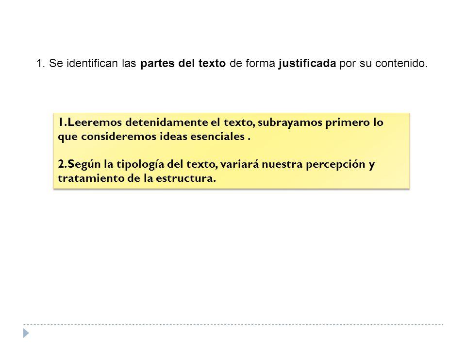 1. Se identifican las partes del texto de forma justificada por su contenido.