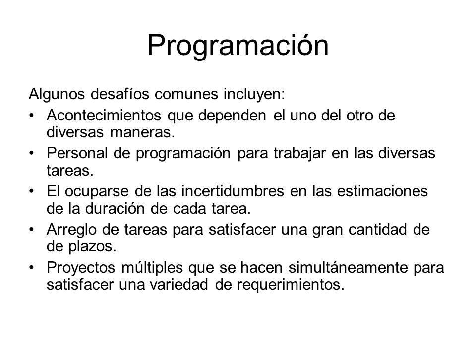 Programación Algunos desafíos comunes incluyen: