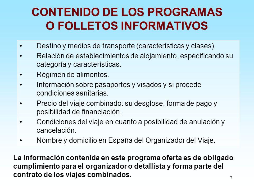CONTENIDO DE LOS PROGRAMAS O FOLLETOS INFORMATIVOS