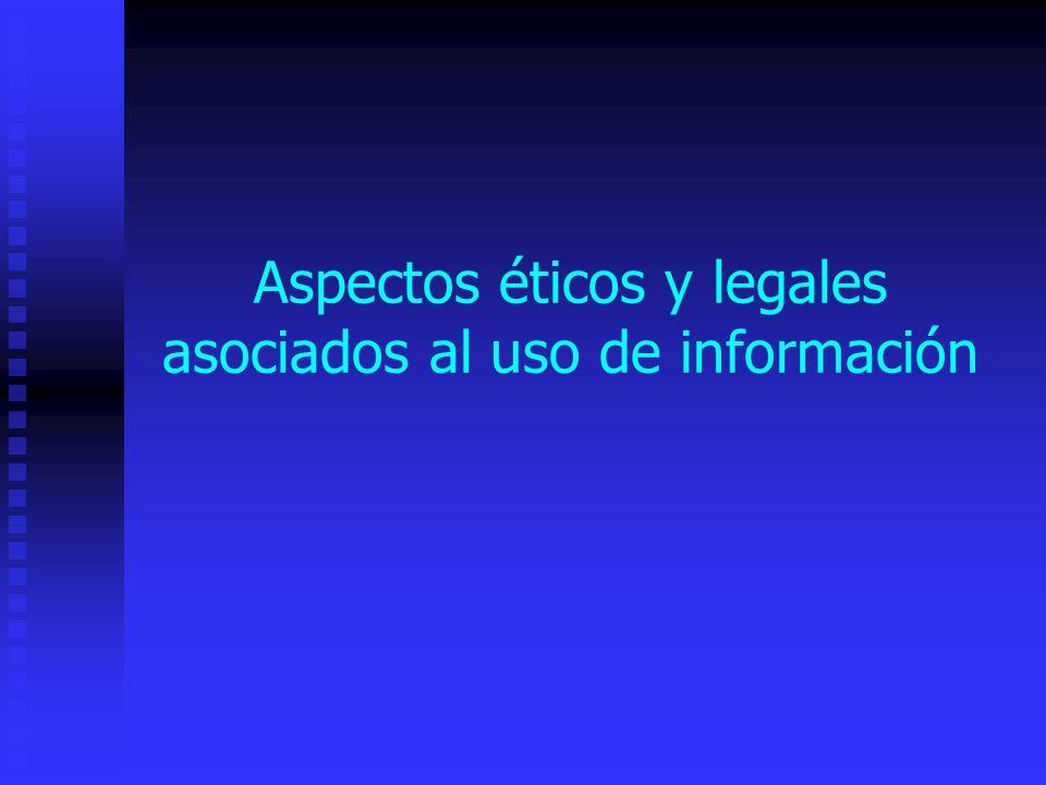 Aspectos éticos y legales asociados al uso de información