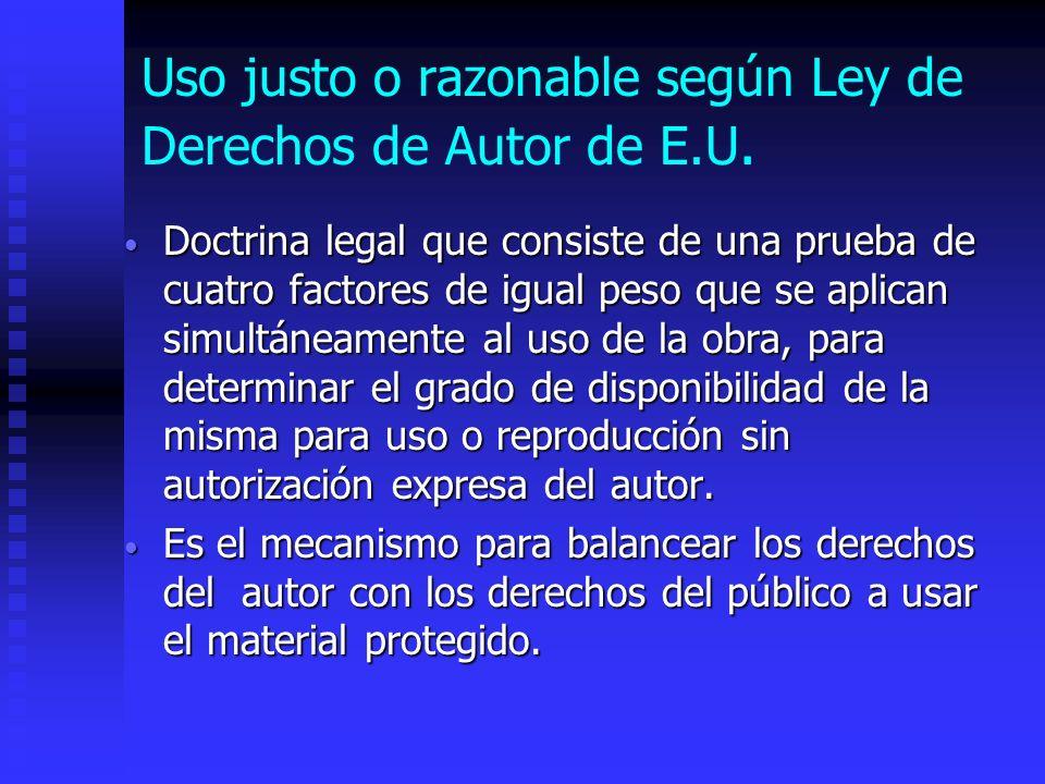 Uso justo o razonable según Ley de Derechos de Autor de E.U.