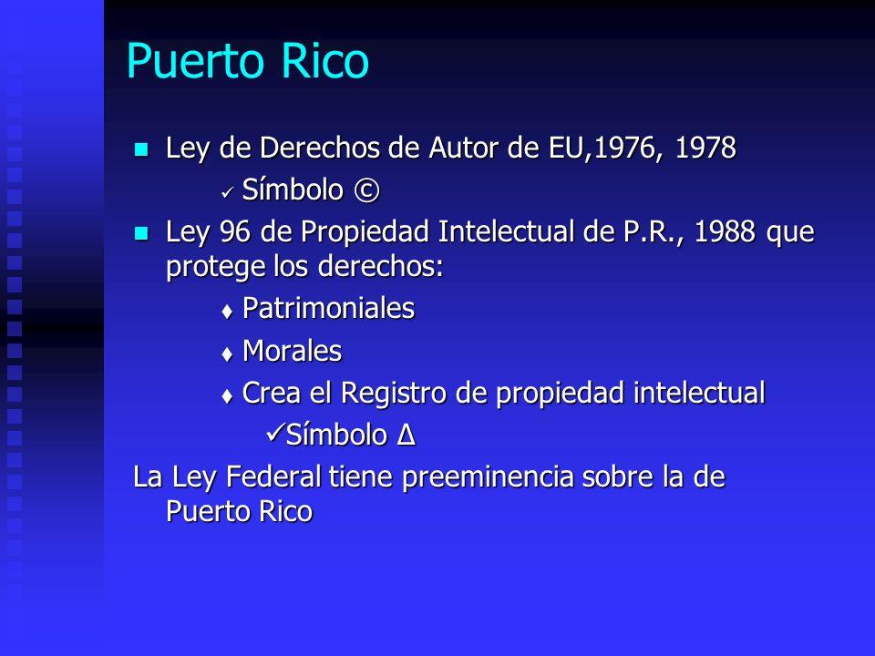 Puerto Rico Ley de Derechos de Autor de EU,1976, 1978 Símbolo ©