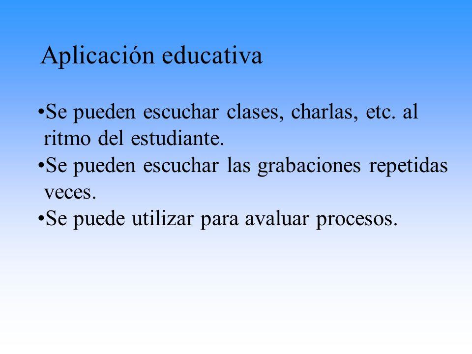 Aplicación educativa Se pueden escuchar clases, charlas, etc. al ritmo del estudiante. Se pueden escuchar las grabaciones repetidas veces.
