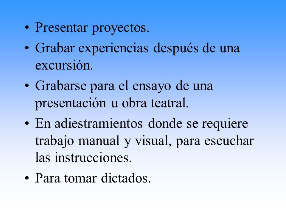 Presentar proyectos.Grabar experiencias después de una excursión. Grabarse para el ensayo de una presentación u obra teatral.