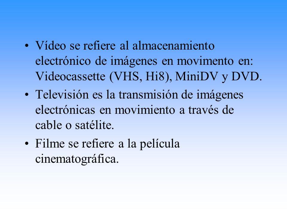 Vídeo se refiere al almacenamiento electrónico de imágenes en movimento en: Videocassette (VHS, Hi8), MiniDV y DVD.