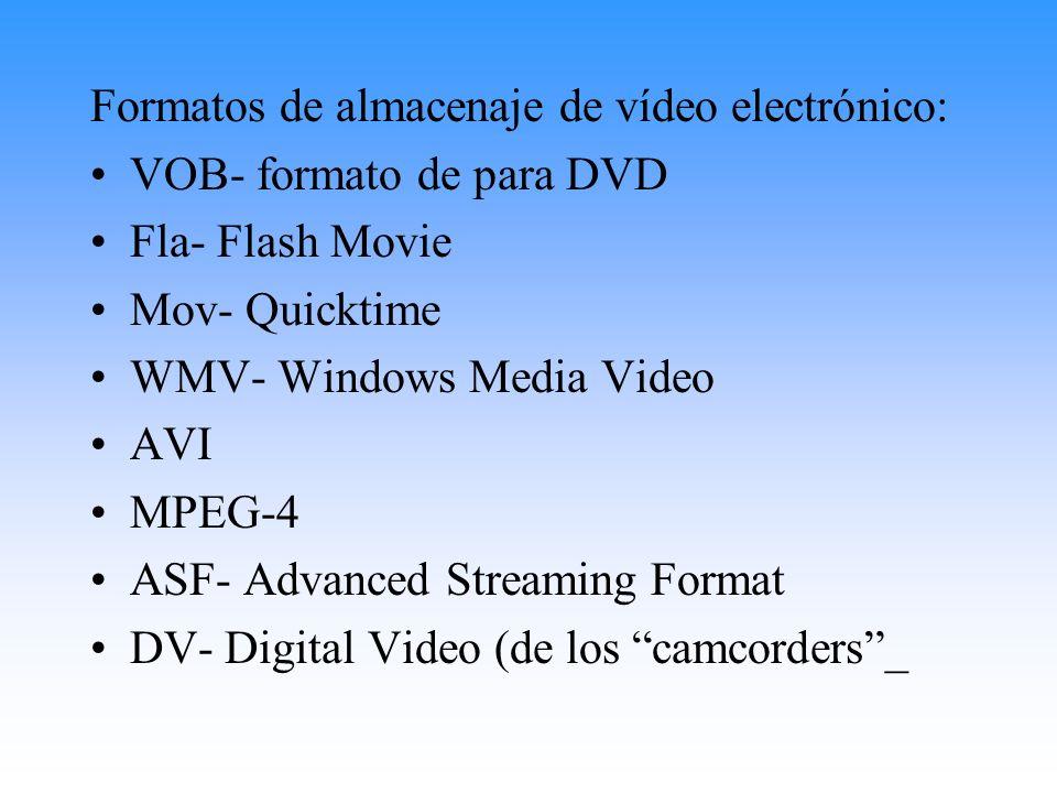 Formatos de almacenaje de vídeo electrónico: