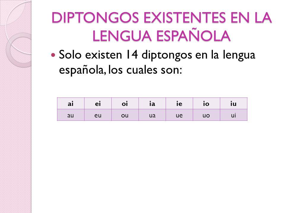 DIPTONGOS EXISTENTES EN LA LENGUA ESPAÑOLA