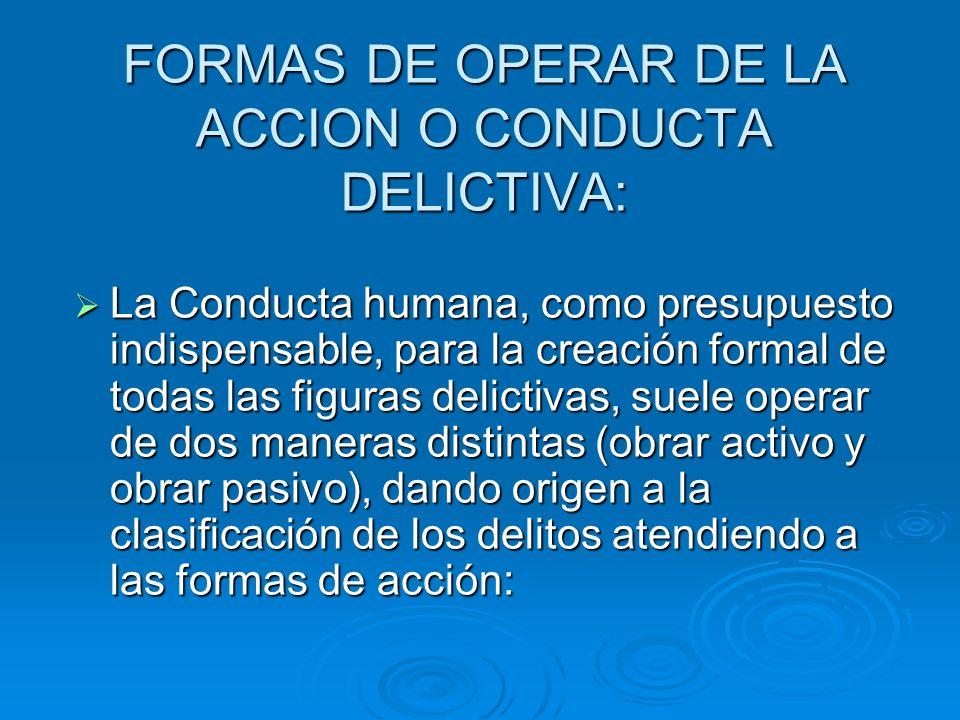 FORMAS DE OPERAR DE LA ACCION O CONDUCTA DELICTIVA: