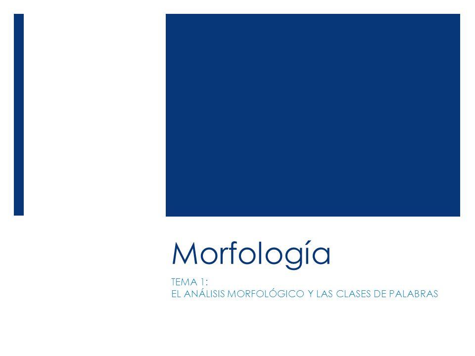 TEMA 1: EL ANÁLISIS MORFOLÓGICO Y LAS CLASES DE PALABRAS